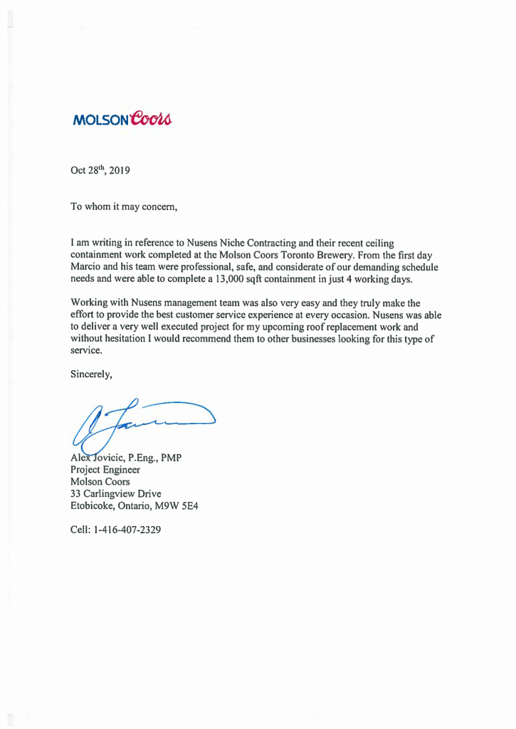 Nusens-Reference-Letter-Molson-Cools - Nusens Contracting Services