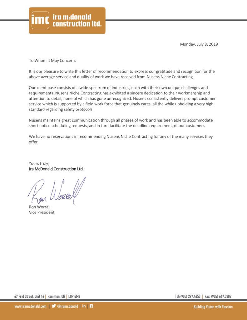 IMC - Client Testimonial - Nusens Niche Contracting Services in Toronto