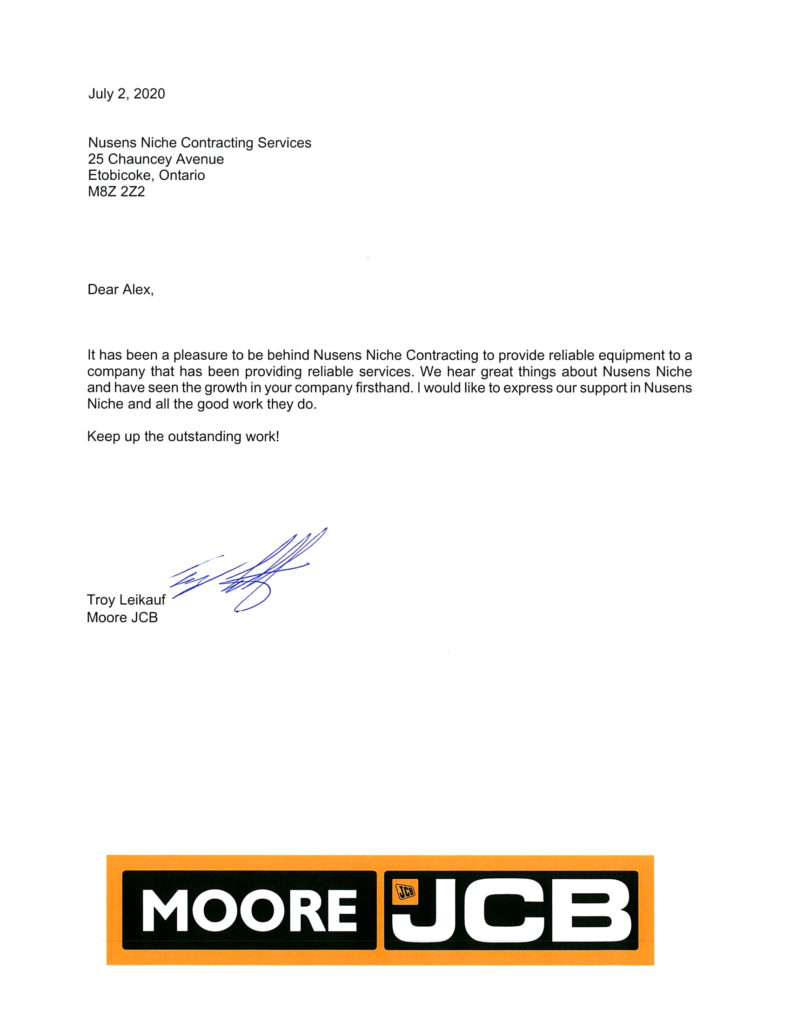 JCB - Client Testimonial for Nusens Contracting Services in Toronto