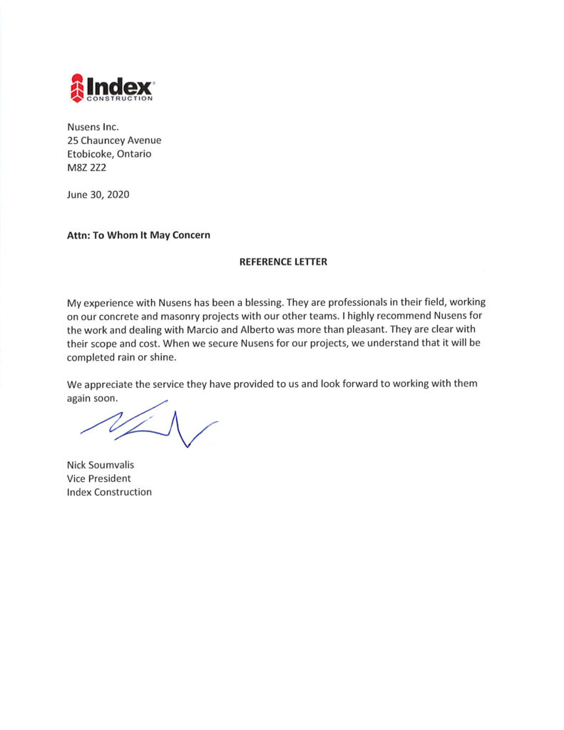 Index Construction - Client Testimonial for Nusens Contracting Services in GTA