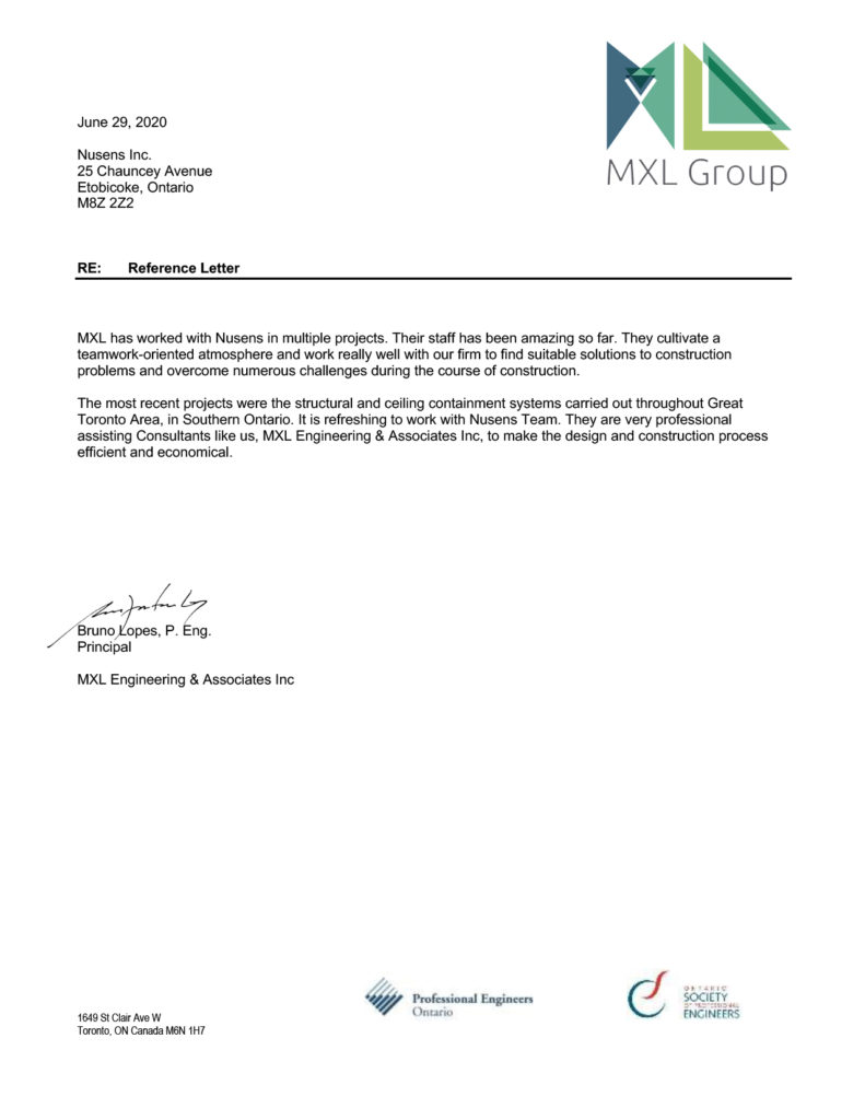 MXL Group Client Testimonial for Nusens Contracting Services in Toronto