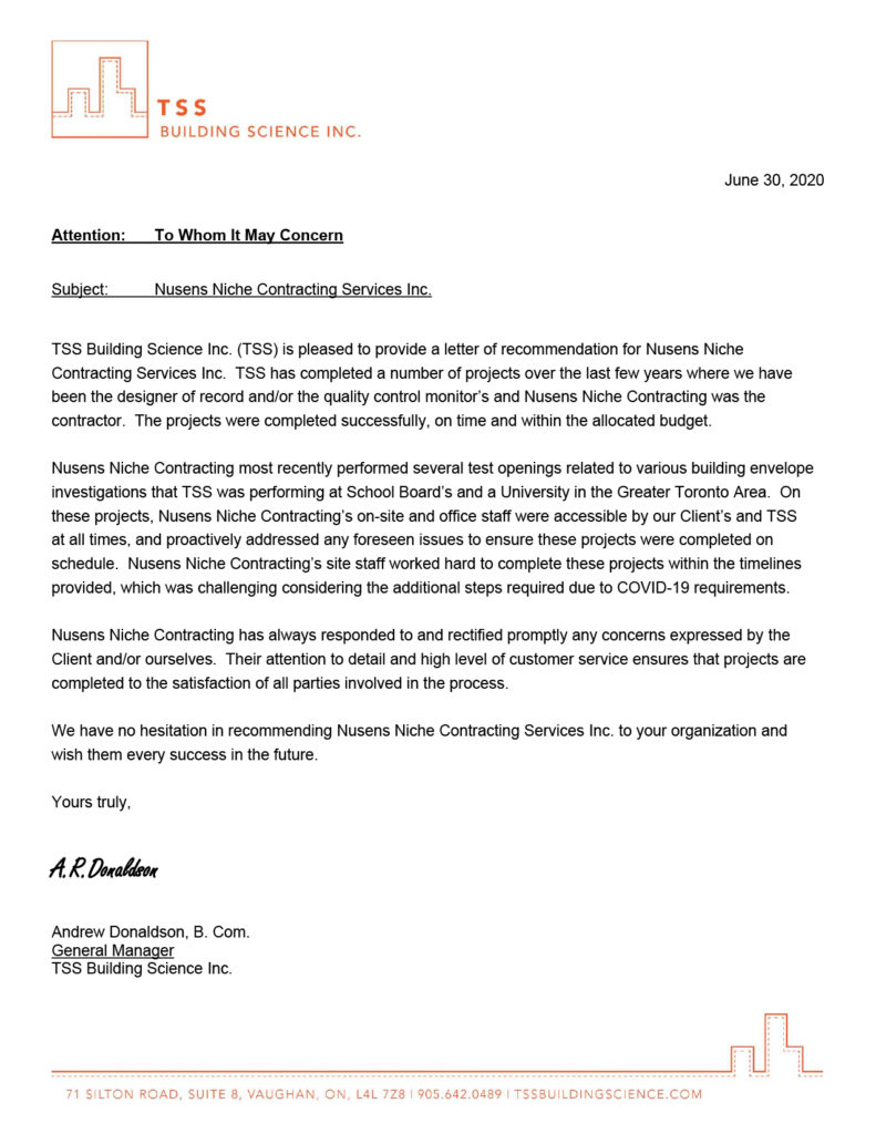 TSS Building Science - Client Testimonial for Nusens Niche Contracting Services - Best in Canada