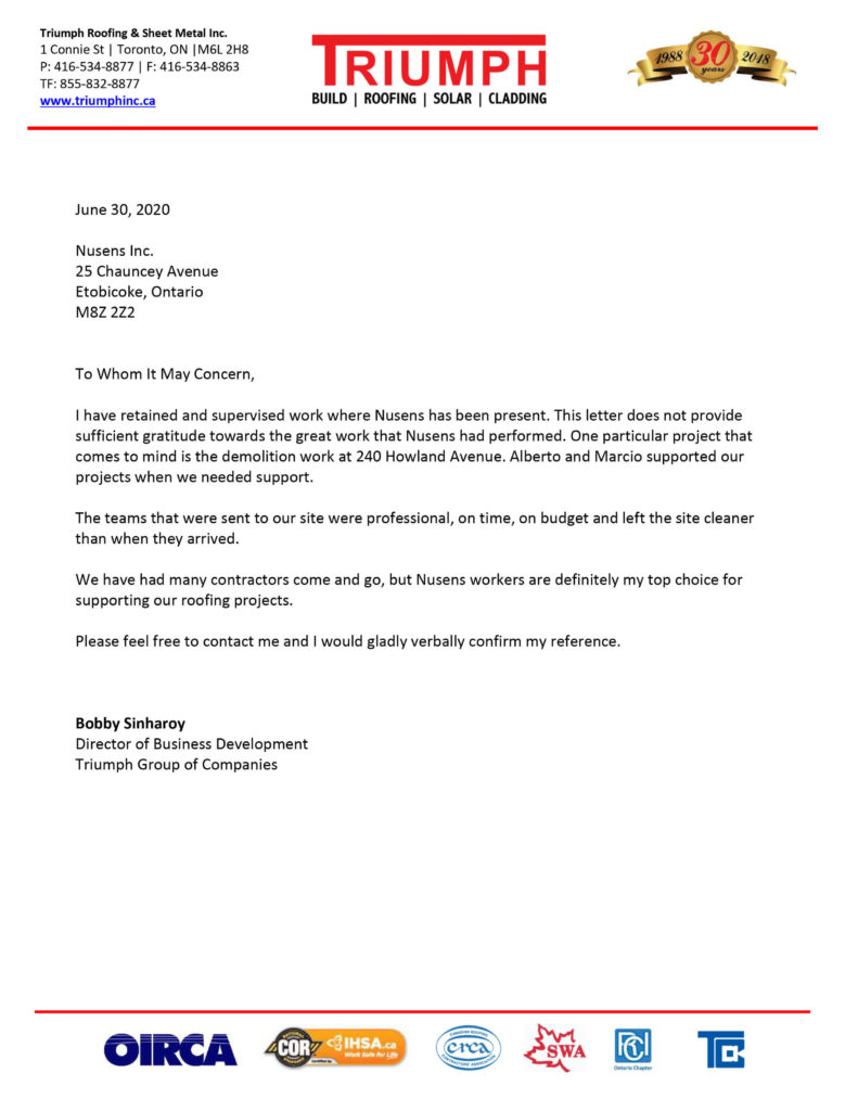 Triumph - Client Testimonial - Nusens Contracting Services Toronto