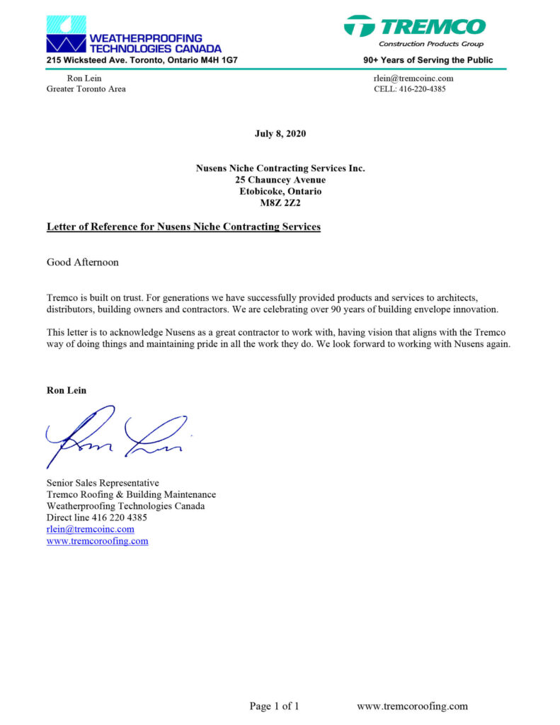 Tremco Letter - Tremco Construction Products Group Testimonial for Nusens Contracting Services