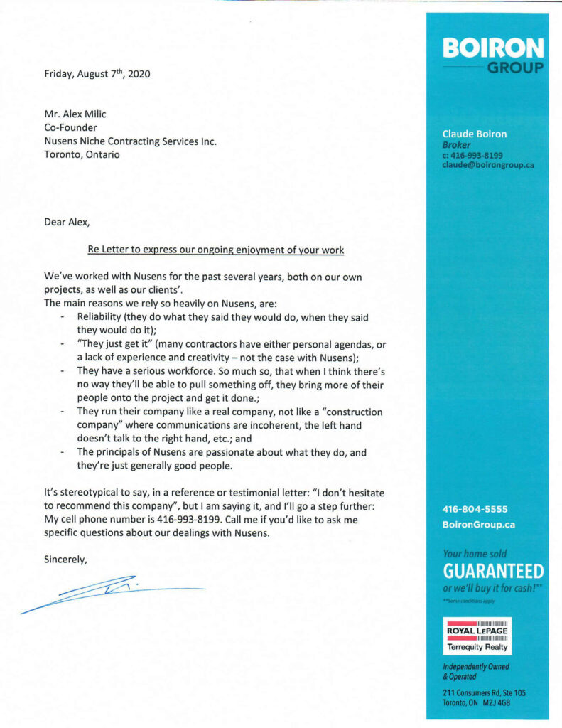 Boirun Group Toronto - Customer Testimonial for Nusens Contracting Services - Best in Canada
