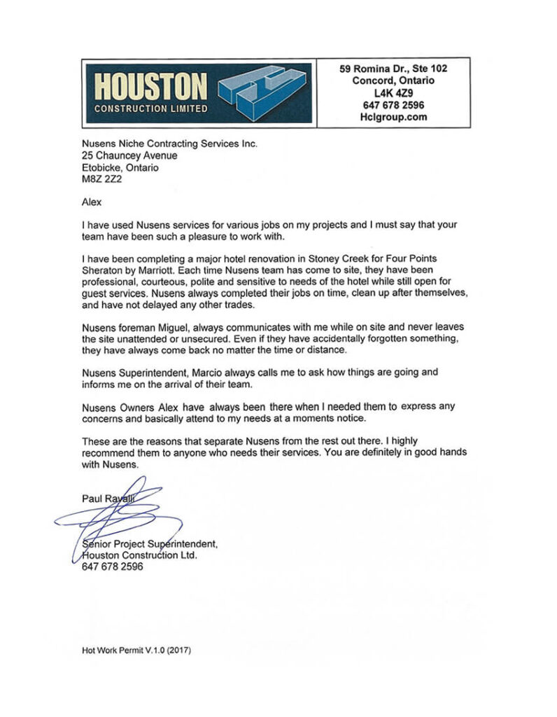HCL Houston Recommendation Letter - Houston Construction Limited - Nusens Contracting Services
