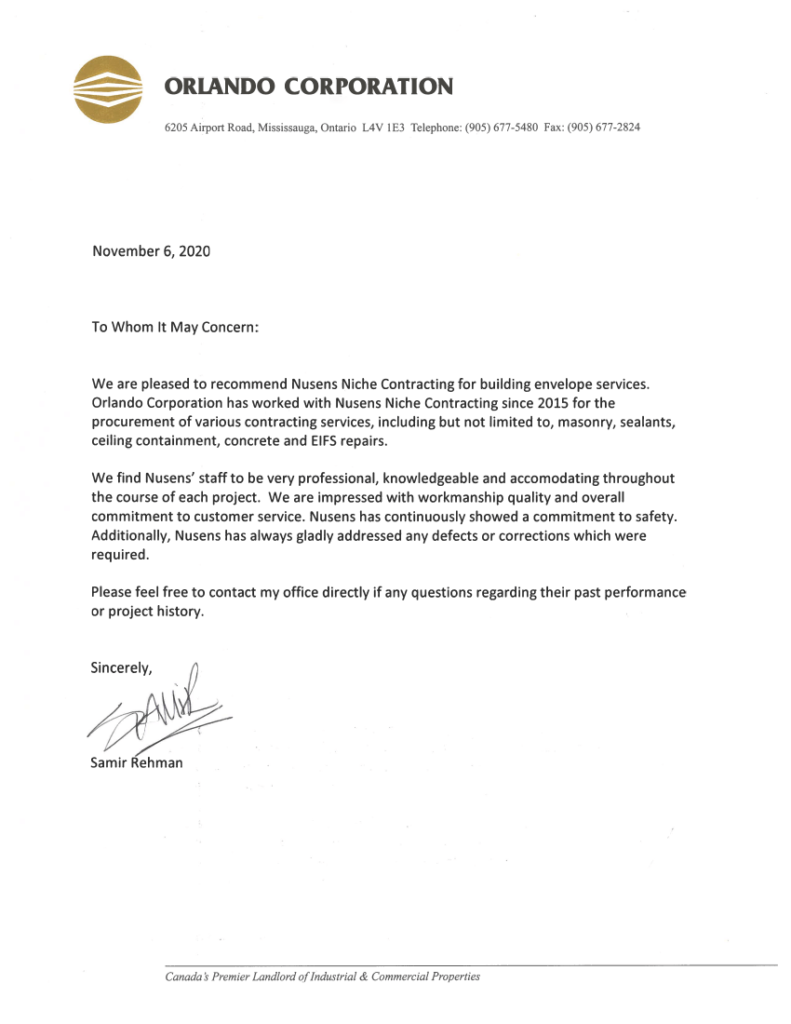 Orlando Ref Letter - Samir - Testimonial For Nusens Contracting Services