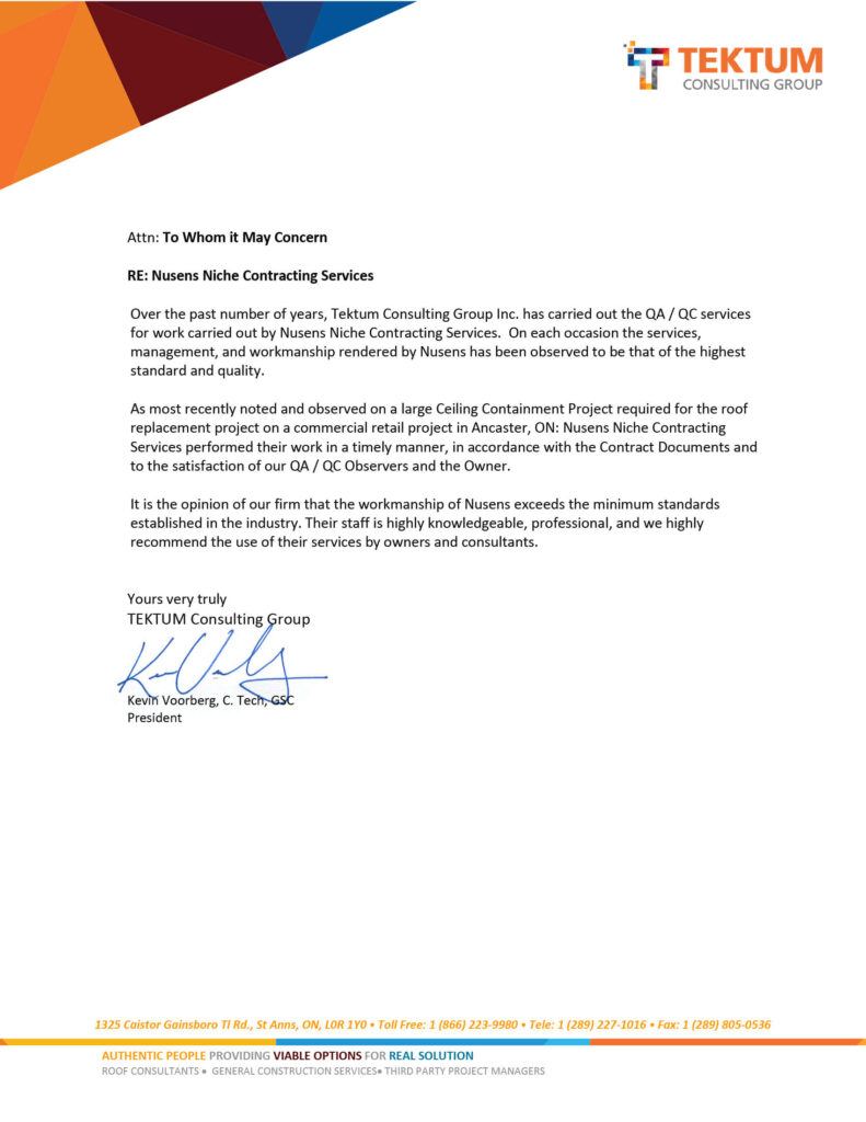 Tektum Consulting Group Testimonial for Nusens Contracting Services - Best Construction Company in Canada
