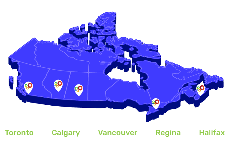Canada Map Revised - Nusens Niche Contracting Services in Canada - Toronto - Etobicoke - Halifax - Vancouver - Environmental Spills
