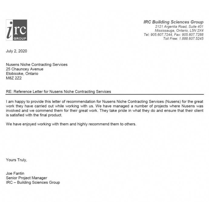 IRC Building Sciences Group Mississauga - Testimonial for Nusens Contracting Services - Best Construction Company in GTA - Toronto